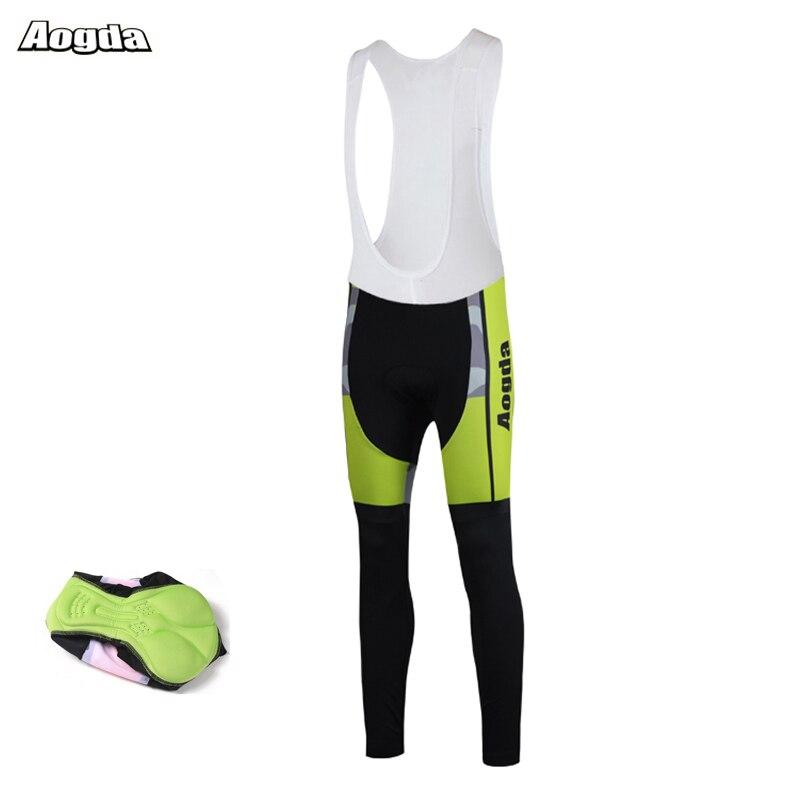 Aogda-pantalones largos acolchados de Ciclismo para hombre, medias de Gel 5D para...