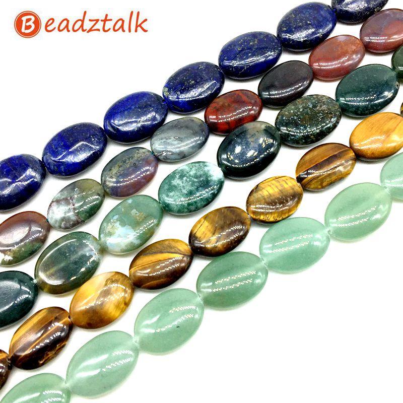 Forma lisa oval lisa 13x18mm do sopro dos grânulos de pedra coloridos para a jóia de diy que faz suprimentos olho de tigre carnelian howlite etc