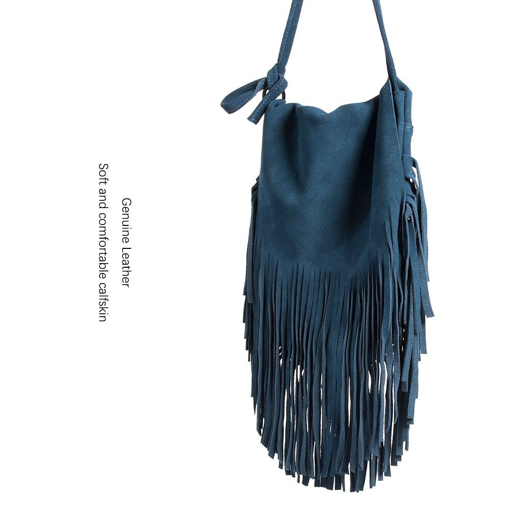 New Women Real Leather Tassel Bucket Bag Vintage Bohemian Hippie Ethnic Feminine Folk Blue Fashion Cross Body Over Shoulder Bag