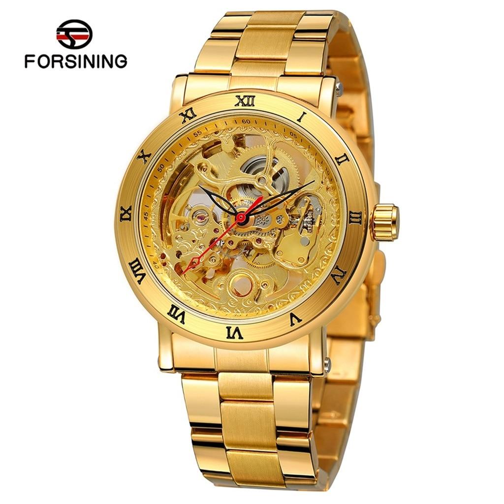 Reloj de marca Forsining de lujo para hombre, correa de acero inoxidable, doble parte inferior, hueco, relojes de pulsera mecánicos automáticos, reloj