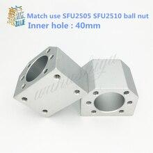 Free shipping SFU2505 SFU2510 ballscrew nut housing aluminium for 2505 25mm ball screw nut housing bracket holder CNC parts 1pcs
