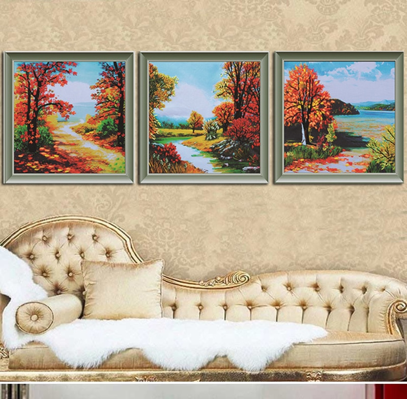 50X50cm * 3 шт./компл. красный клен холм Рукоделие 3D лента вышивка живопись Сделай Сам набор вышивки крестом Незаконченный модный домашний декор