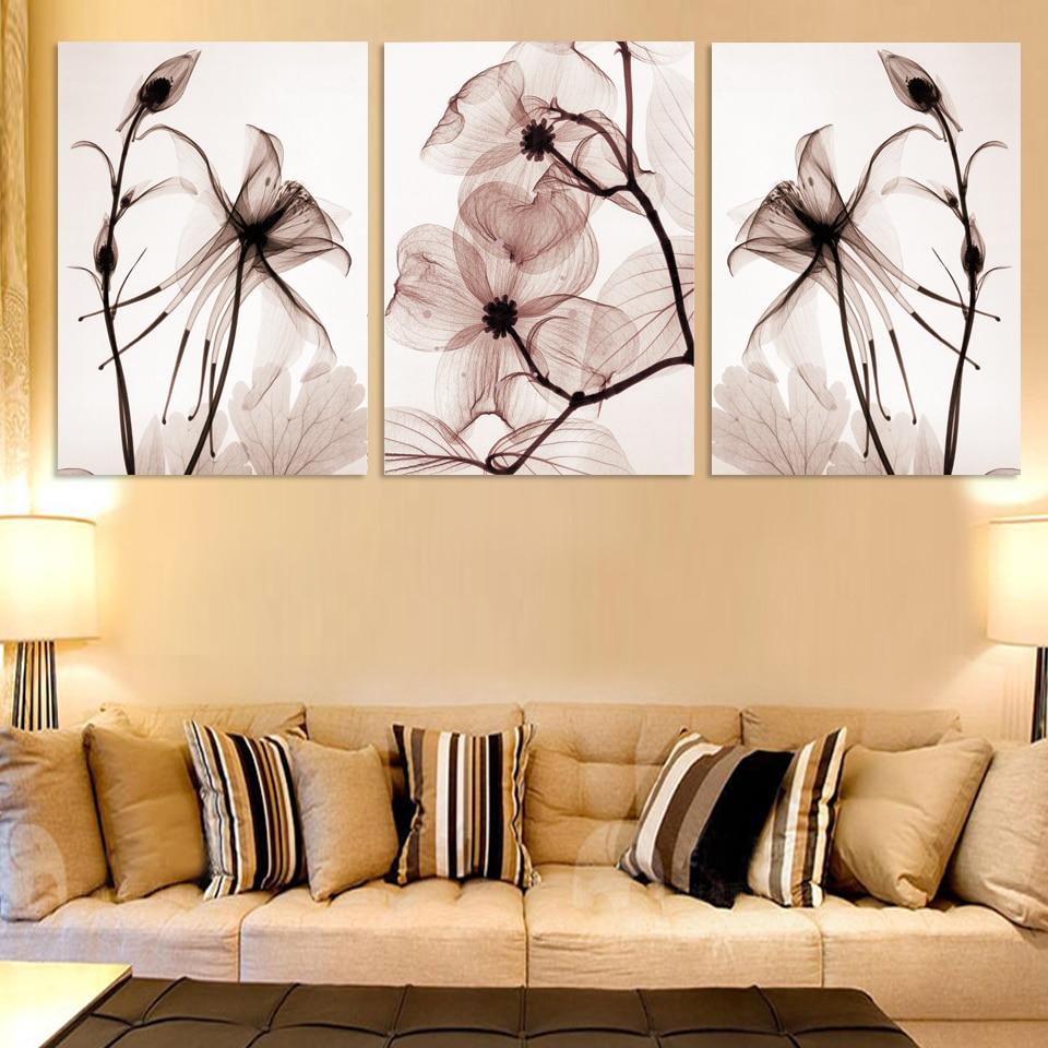 3 paneles de lienzo moderno para pared, pintura decorativa para el hogar, impresiones en lienzo, cuadro Modular encantador con flores azules, sin marco