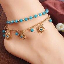 Nouveau Vintage femmes cheville Bracelets bohème pied bijoux bleu pierre perles alliage Bracelets de cheville 1PC
