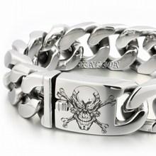 LINSION Riesige Schwere 316L Edelstahl Tiefe Gravierte Pirate Schädel Herren Jungen Biker Rock Punk Armband 5D406
