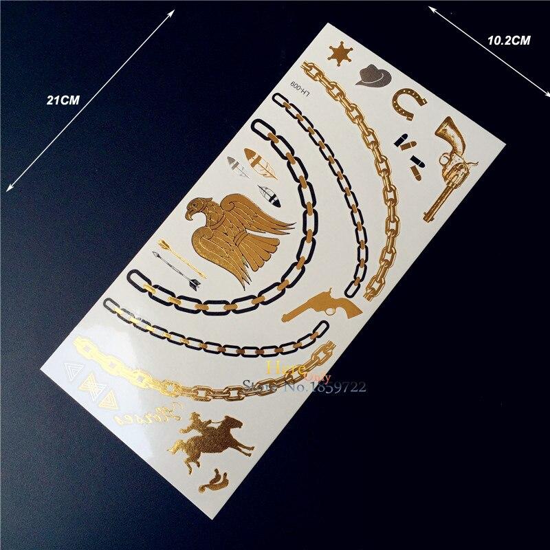 1 unidad tatuaje temporal pegatina dorado indio tatuaje pluma de águila, tatuaje metálico hombres mujeres collar, tatuajes Flash pistola bala HLH9