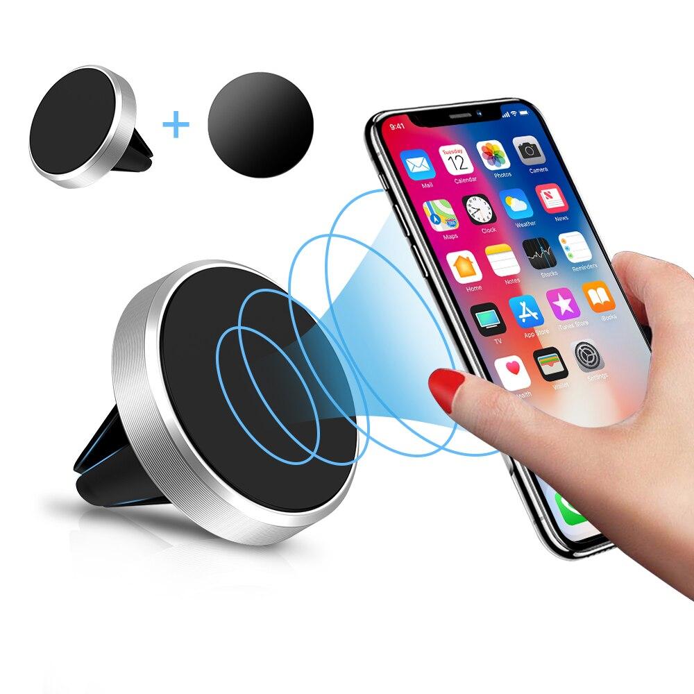 Sostenedor del teléfono del coche del montaje de ventilación de aire magnético soporte para Smartphone móvil imán apoyo celular teléfono móvil mesa de teléfono en el coche GPS