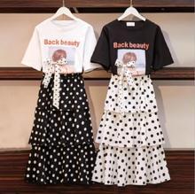 2019 été édition coréenne nouvelle vague Point gâteau jupe ensemble femme étudiant lâche grande chemise à manches courtes deux ensemble