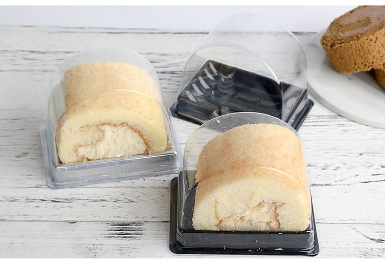 Caja de plástico transparente para pasteles, cajas individuales para pasteles, cajas de rollo suizo para pasteles wen5670 500 Uds.
