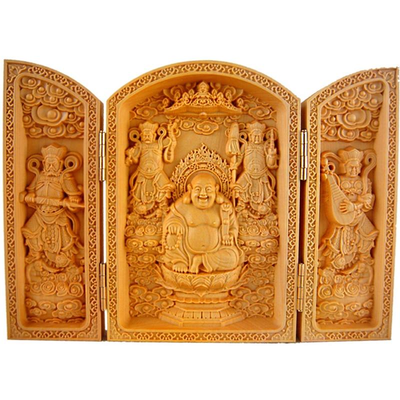 Fabricantes venta boj tallado Buda Maitreya Buda tres caja abierta Fu Lu Shou artesanía de madera Avalokiteshvara envío gratis