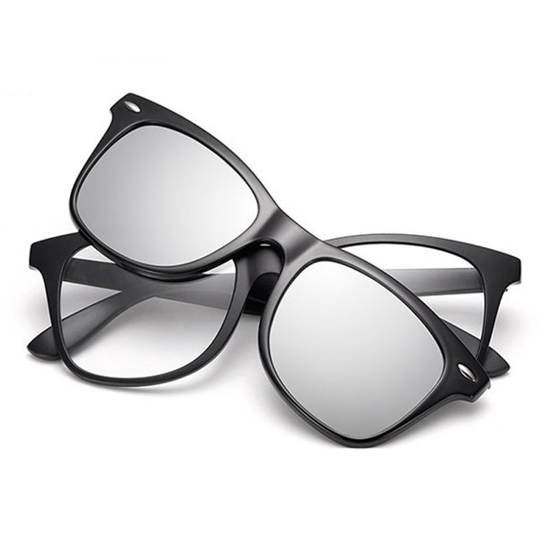 Gafas de sol graduadas ópticas TR90 montura cuadrada espejo polarizado antirreflectante UV400 con Clip magnético