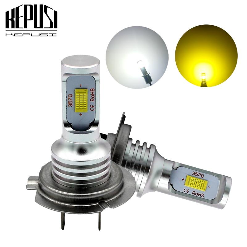 2x H7 Led Fog Light Bulb Auto Car Motor Truck Canbus Error Free LED Bulbs Driving Lights DRL Lamp 12V 24V for Cars White Golden
