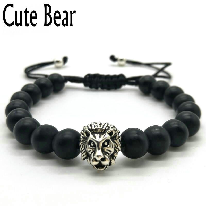 Schwarz Seil Quaste Macrame Lion Kopf Armband Männer Black Matte Frosted Stein Perlen Armbänder Gewebt Armband Für Männer Frauen Pulseira