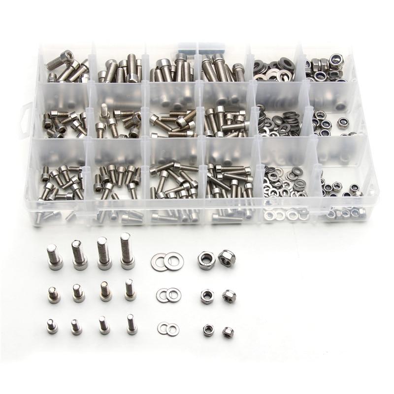 مجموعة متنوعة من رؤوس الأسطوانة المصنوعة من الفولاذ المقاوم للصدأ ، M5/M6/M8 ، 345 قطعة