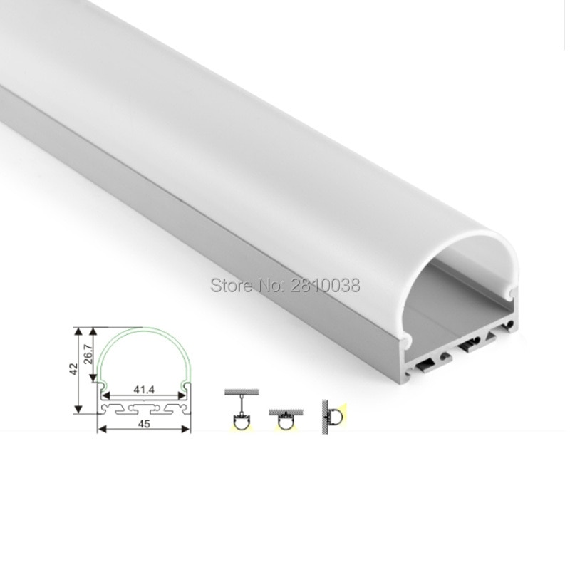 100 X1 M Sets/Lot round shape led profile and semicircular shape aluminum profile led strip light for ceiling or wall lamp