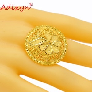 Adixyn Round Wide Ring for Women/Teenage Girls Gold Color Engagement Jewelry India/African/Ethiopian/Arab Items N02272