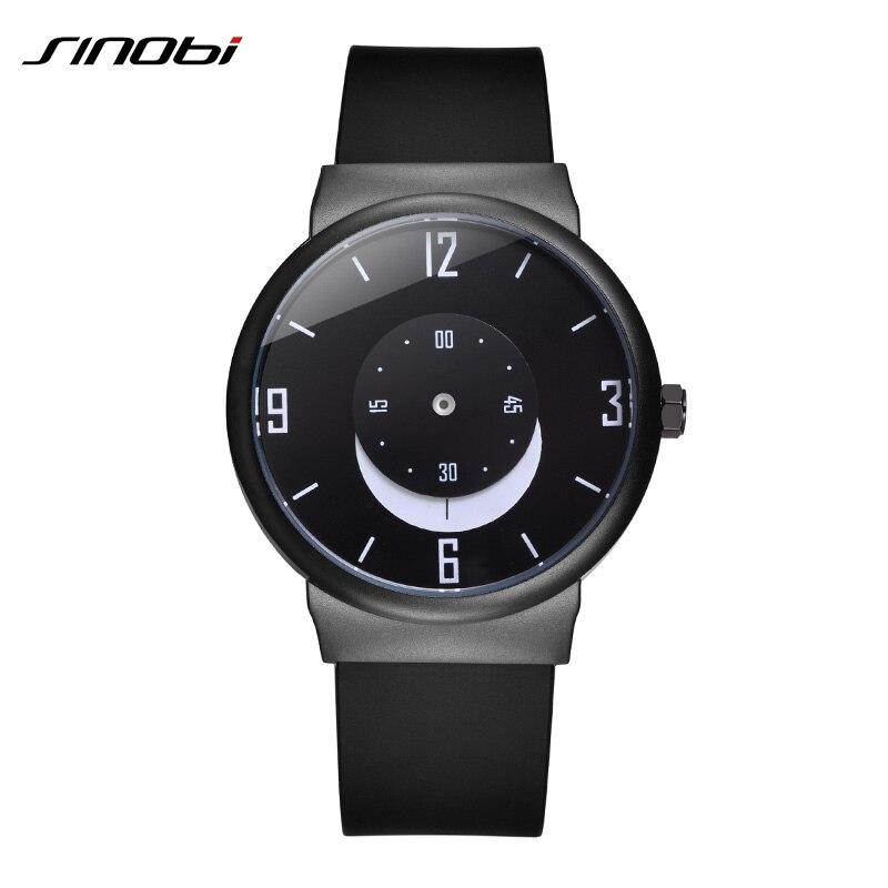 SINOBI Creative Mens Watches 2019 Top Brand Luxury Black Silicone Strap Moon Dial Quartz Watch Waterproof Relogio Masculino 6142