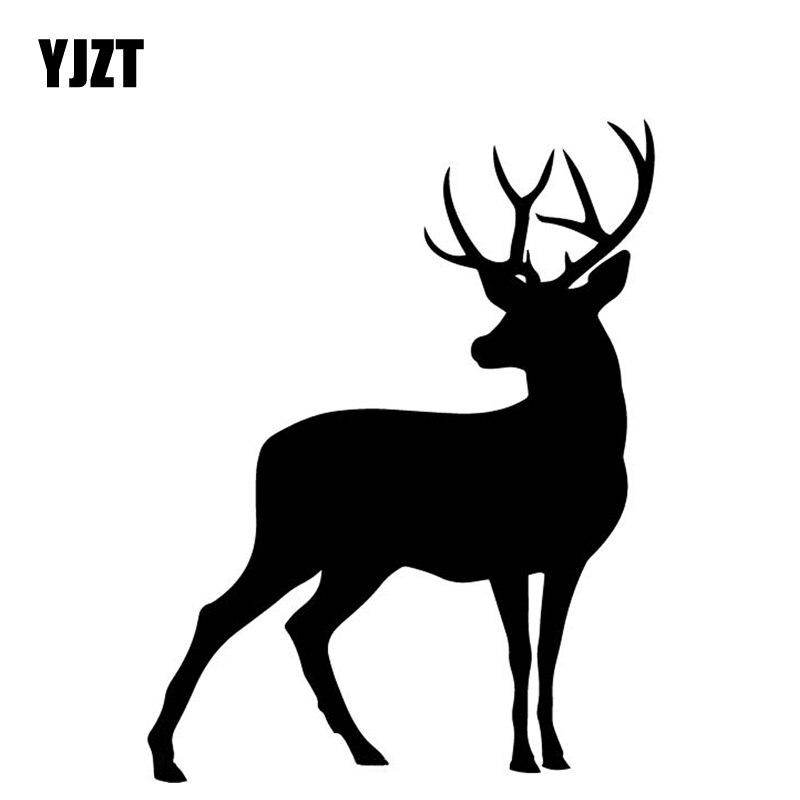 YJZT 12,6 CM * 16,4 CM ciervo gira hacia atrás coche tronco decorar patrón vinilo pegatina pegatinas para coche negro/plata C4-1977