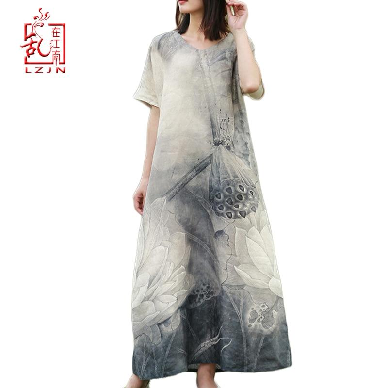 LZJN, novedad de verano 2020, vestido Retro de lino y algodón de manga corta con dibujo de loto en negro y gris para mujer, vestido largo hasta el tobillo informal holgado