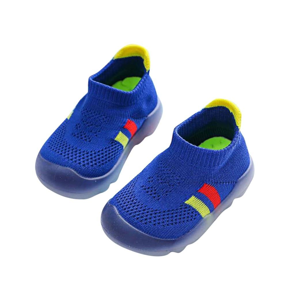 Zapatos para niños, niñas, niños, Zapatos a rayas, bonitos, niños pequeños, De punto, transpirables, zapatillas De deporte, Zapatos De Nino