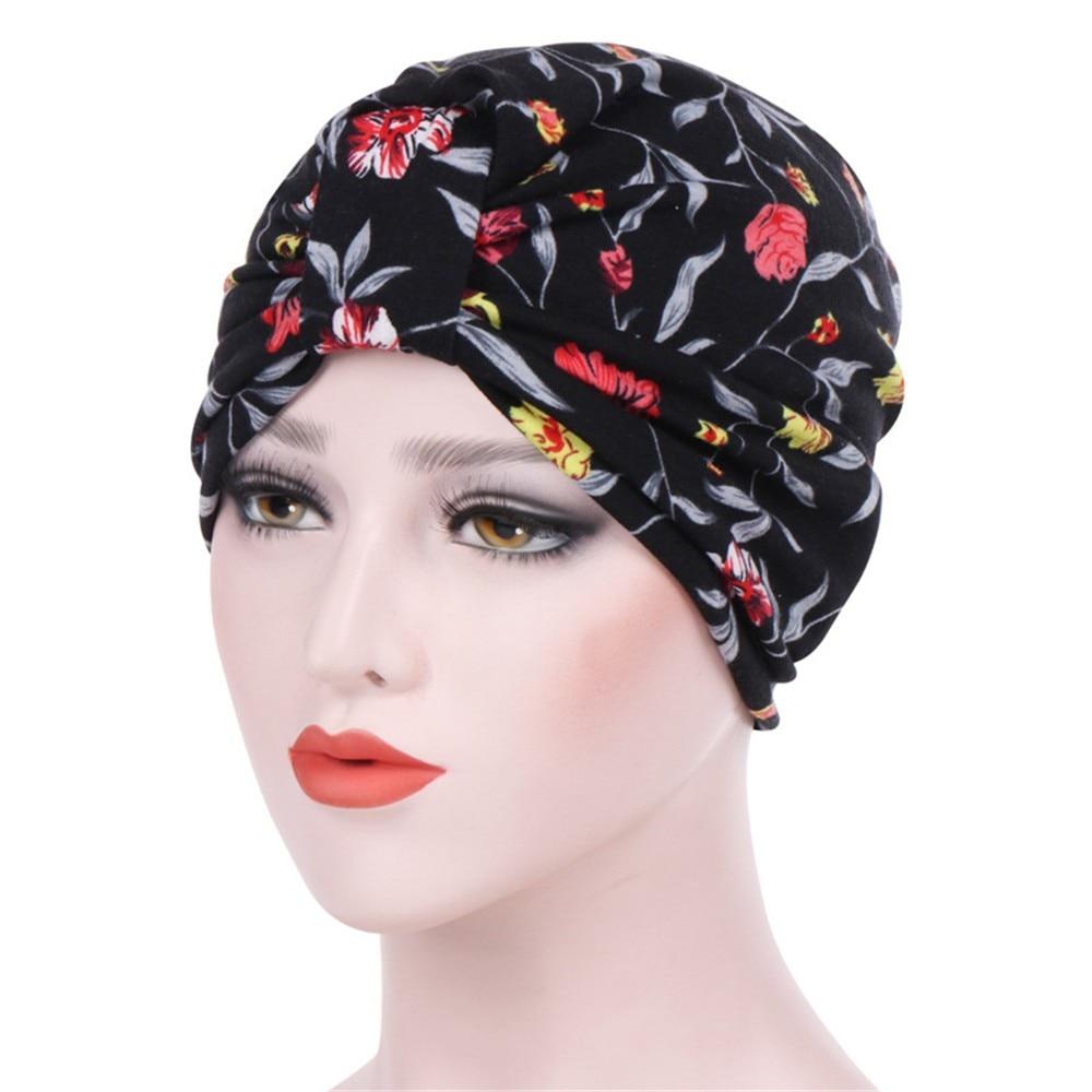 India cap islamic hat Muslim turban Print Women Cotton Breathe Hat Women Hijabs Turban Elastic Cloth Head Cap Hat Scarf Cap 4.11