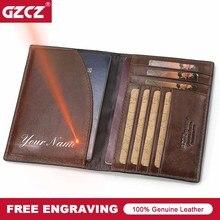 GZCZ Reisepass Abdeckung Männer Echtes Leder Hohe Qualität Fahren Dokument Karte Passcard Tasche Amerikanischen Abdeckungen für Mädchen Fall