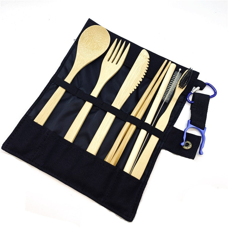 Vajilla de viaje de bambú, juego de cubiertos de bambú reutilizable con Estuche de transporte cepillo de dientes de carbón de bambú portátil de madera