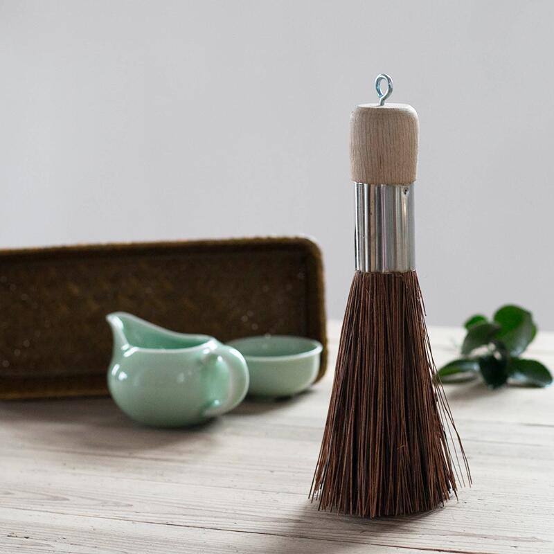 Cepillo Natural para ollas, mango de madera de haya, cepillo de limpieza de cacerola, limpiador antiadherente para sartenes utilizado para limpieza de cocina