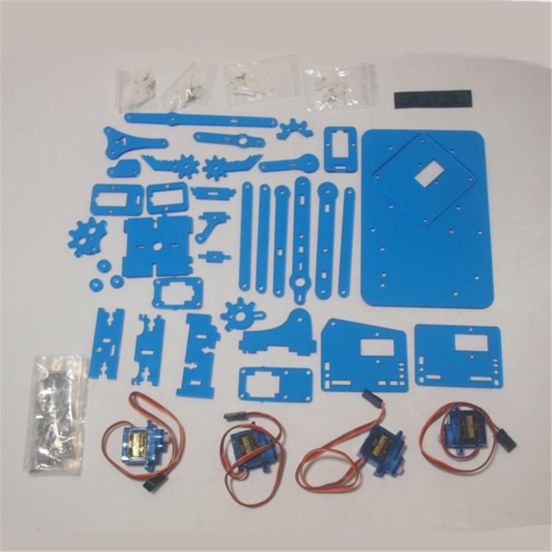 Mini brazo robótico Industrial meArm DIY, Kit de lujo, corte láser, color azul, marco de placa acrílica + 9g, Micro servomotores, kit de aprendizaje meArm