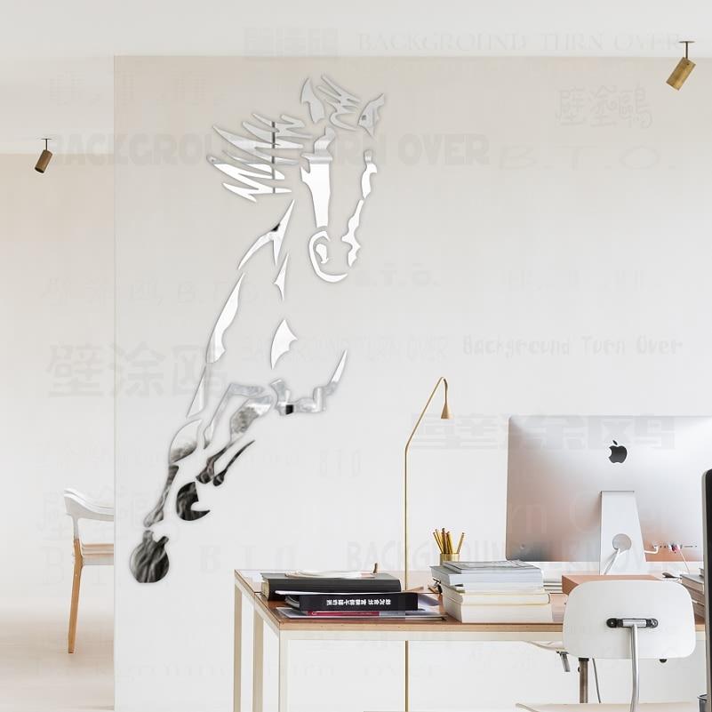 Decorative Hot Galloping Horse 3D Acrylic Mirror Wall Stickers Living Room Bedroom Wall Decor Door Sticker Room Decoration R073