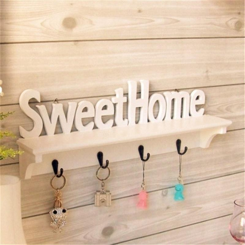 1 шт. милые домашние слова, 4 крючка, полки, держатели для ключей, полка для хранения, подвесные крючки, настенная стойка, держатель для домашнего хранения