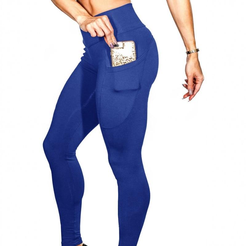 Las mujeres lado bolsillo lápiz pantalones fitness para entrenar Leggings moda Pantalon Mujer Pantalones casuales de las mujeres pantalones de chándal