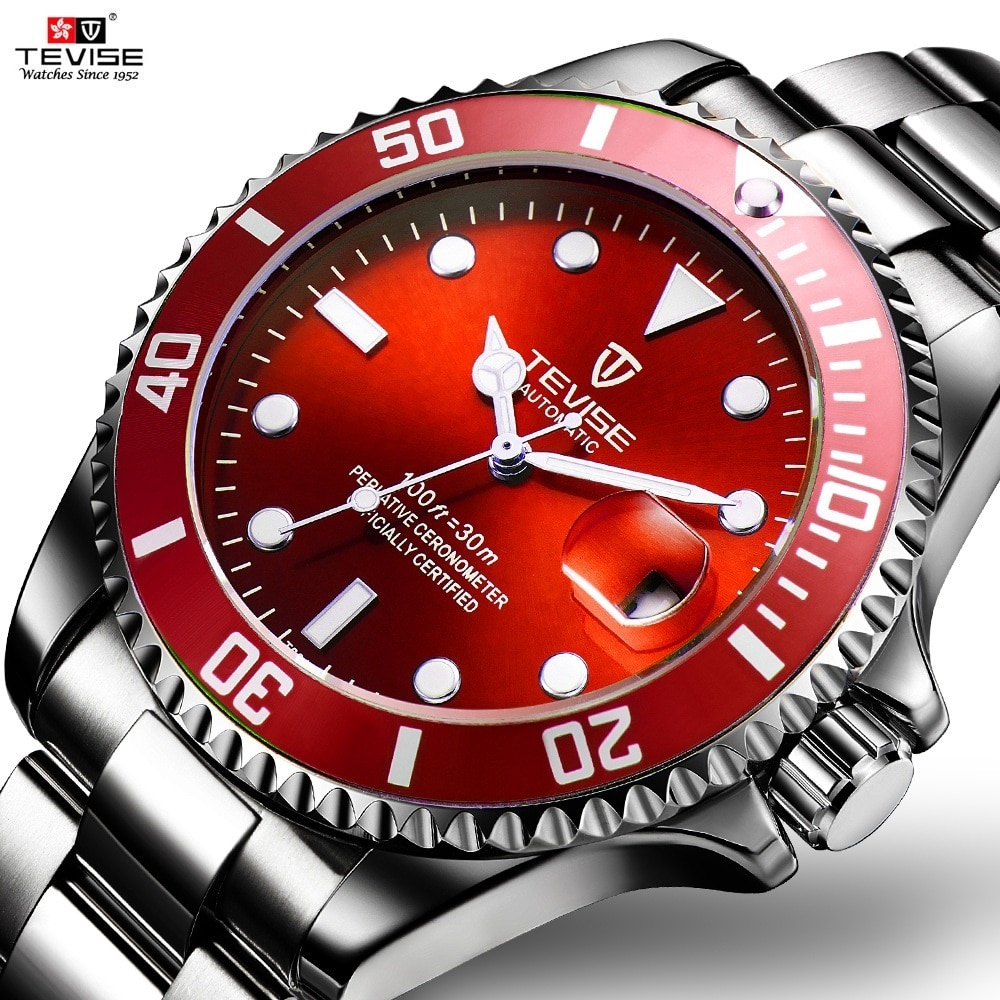 TEVISE-ساعة رجالية حمراء ، ساعة يد رجالية ، مضيئة ، التاريخ ، مقاومة للماء ، أوتوماتيكية ، زرقاء وأرجوانية ، ميكانيكية