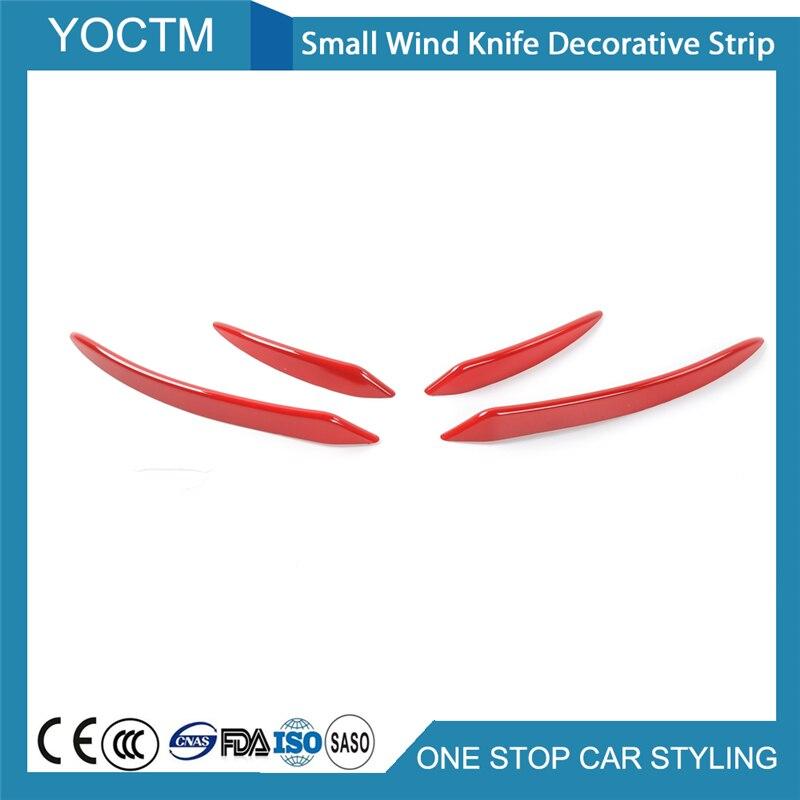Accesorios de coche viento pequeño cuchillo de tira decorativa encaja para Ford Mustang 2015, 2016, 2017, 2018/rojo/azul/plata/coche con imprimación estilo