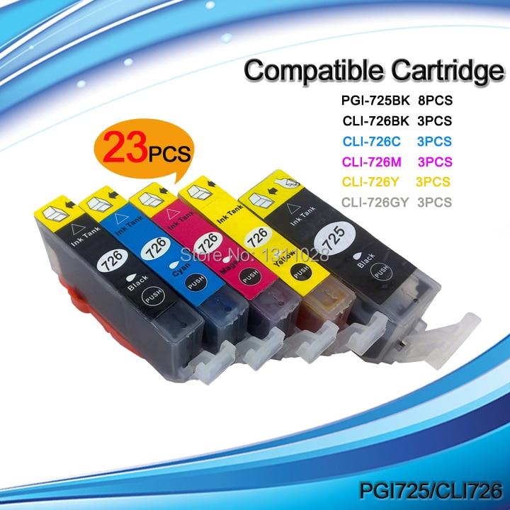 Tinta manera envío gratis 23 piezas de compatible pgi-725 cli-726 para PIXMA MG6170 MG8170 MG8270 MG6270