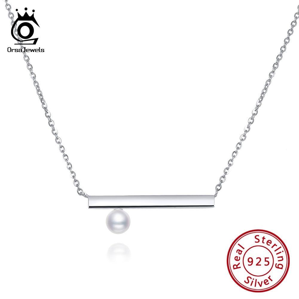 ORSA JUWELEN Neue Ankunft Bar & Shell Perle Anhänger Halskette Für Frauen 925 Sterling Silber Halskette Trendy Partei Edlen Schmuck SN152