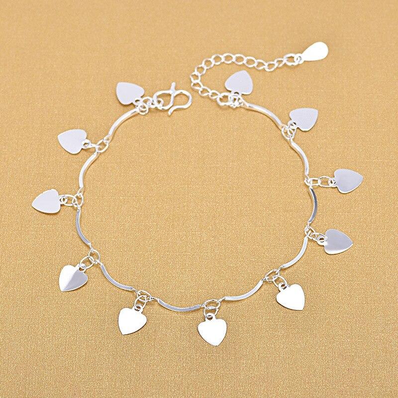 Lovely Heart Charm Bracelets For Women 925 Sterling Silver Bracelets Jewelry Gifts
