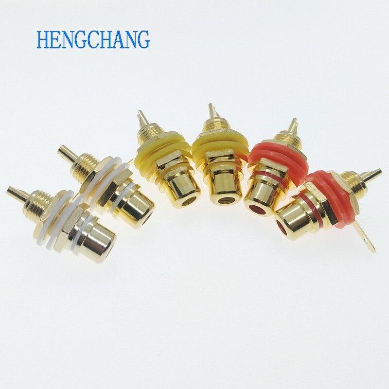 Conector RCA chapado en oro de 6 Uds., montaje en Panel de chasis, conector de Audio y vídeo, mampara con tuerca de soldadura