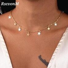 RscvonM Mode Frauen Schmuck Natürliche Legierung Gold Farbe Stern Anhänger Halskette Und Herz Anhänger Halskette Frau Choker Halskette