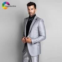 italian shinny silver men suit slim fit wedding groom tuxedo best man blazer jacket pants 2piece costume homme terno masculino