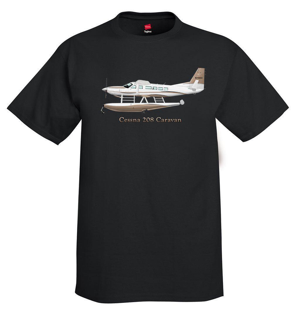 2019 Novos Homens de Manga Curta 100% Algodão T-Shirt Avião Cessna Caravan 208 Com Carros Alegóricos-Personalizado Com o Seu Tee Camisa