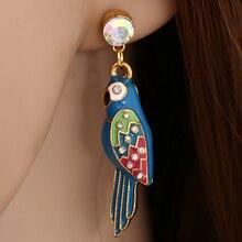 Émail bleu perroquet goutte boucles doreilles strass mignon oiseau balancent boucle doreille pour les femmes mode Animal bijoux faisant cadeau