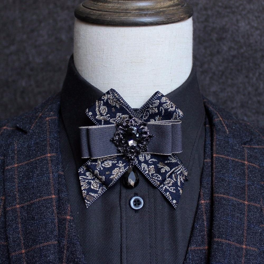 Adult Bowtie Men Wedding Pajaritas Vintage British Bowtie Knot Diamond Party Necktie Groom Collar Accessories Cravate Pour Homme
