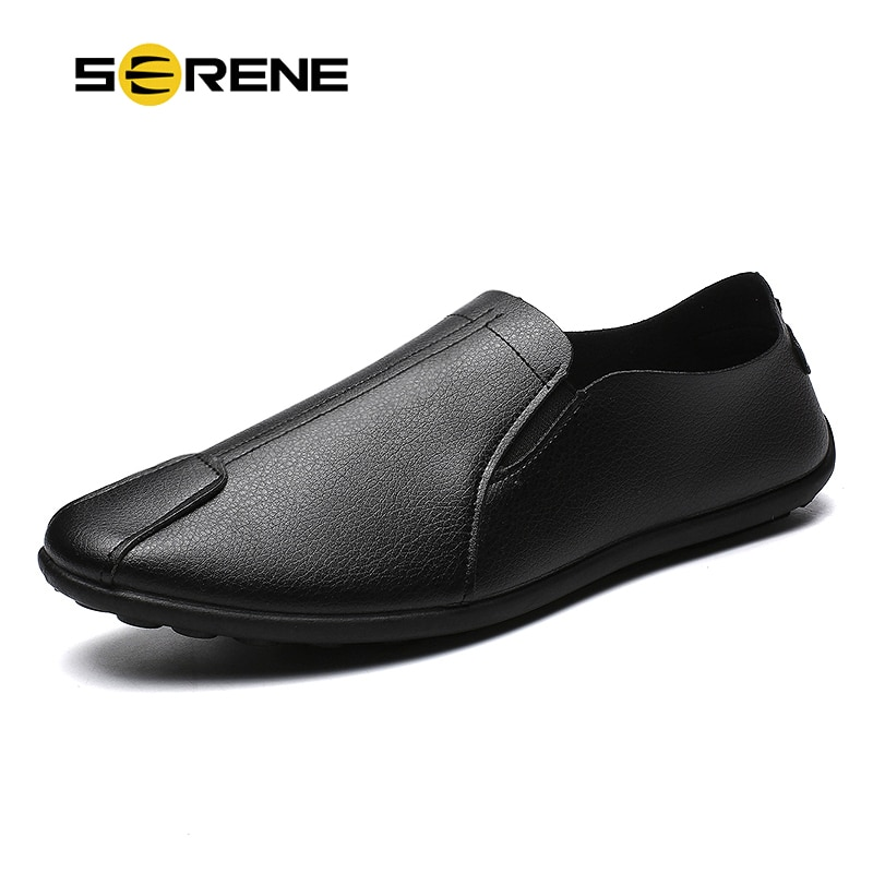 SERENE Brand Fashion Men Casual Shoes Nice Leather High Top Breathable Comfortable Footwear Man Black White Boat Drive Mens Shoe
