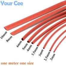 2:1 thermorétractable Tube rétractable manchon thermorétractable isolation fil câble 600V couleur rouge 9pc chaque taille 2 à 10MM