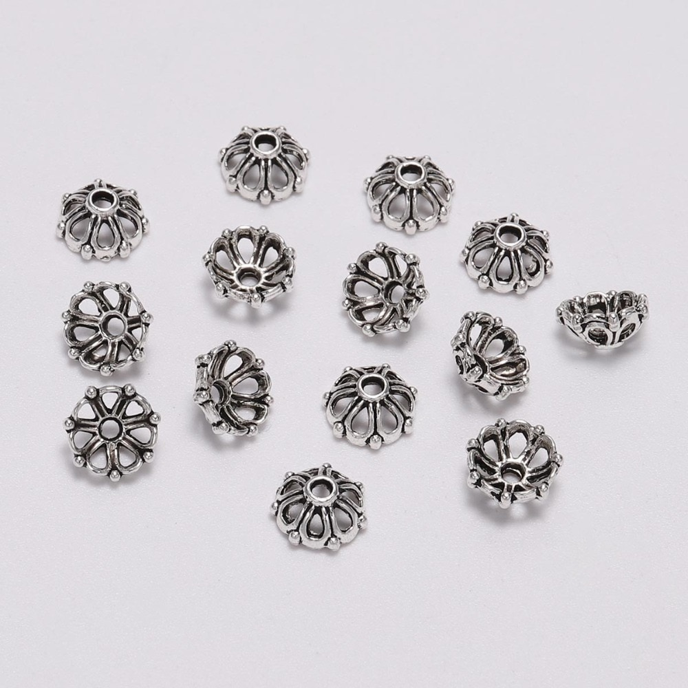 100 pçs 8mm antigo redondo oco para fora flor grânulo tampões de extremidade receptáculo flor torus diy espaçados acessórios de jóias