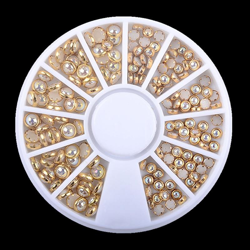 1 caja AB Beige borde de Metal cuentas de uñas brillantes tachuelas belleza encanto uñas arte perlas para manualidades decoraciones rueda