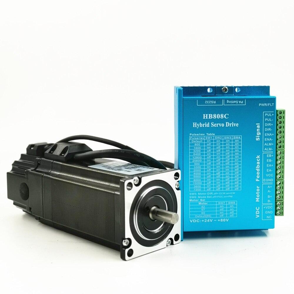 مجموعة محرك متدرج الحلقة المغلقة Nema 23 ، محرك سيرفو هجين ، 3.0 نيوتن متر ، 24-60VDC ، Nema23 5A 3Nm 57x57x162 مللي متر ، مع الفرامل