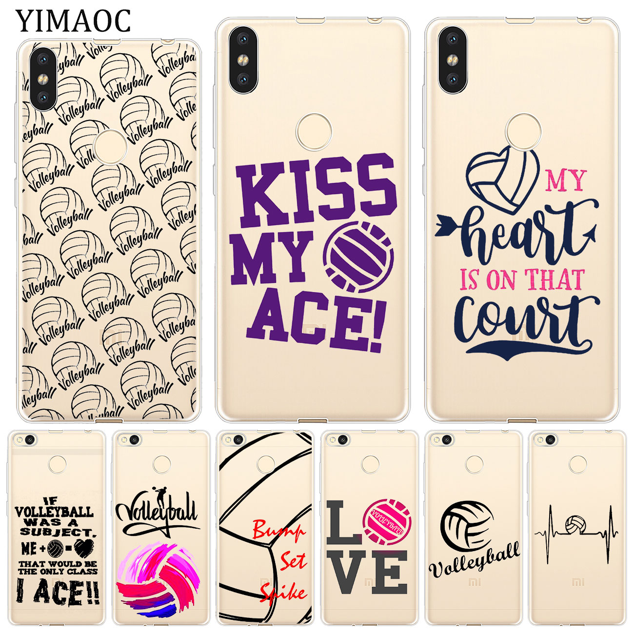 YIMAOC Volleyball Sports Soft Case for Xiaomi Mi 9 9T CC9 CC9E A3 Pro 8 SE A2 Lite A1 MiX 2S MAX 3 p