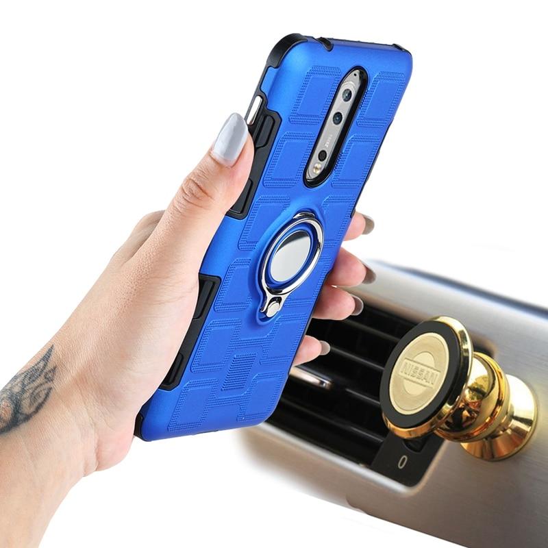 Armadura híbrida de doble capa para funda Nokia 2 Nokia8 anillo de dedo magnético de succión de coche funda para Nokia 2 nokia 8 cubierta